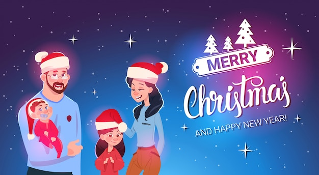 Happy family wearing santa hats merry christmas and new year greeting card family