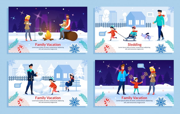 Happy family winter rest on vacation template set