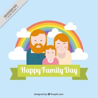 평면 디자인에 무지개와 함께 행복 한 가족