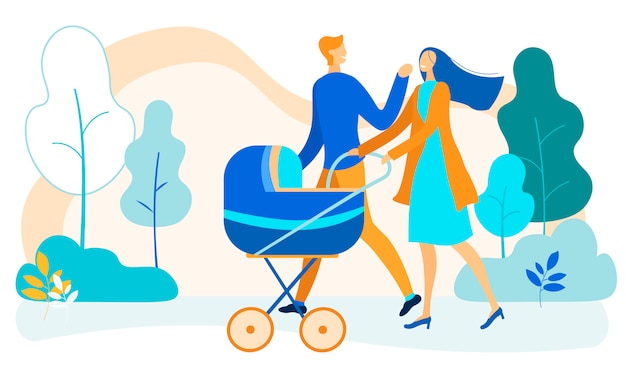 Happy family with baby stroller walking in park
