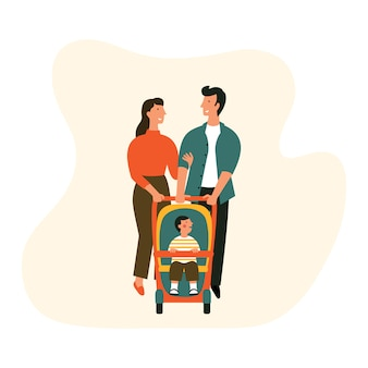 Happy family with baby stroller.