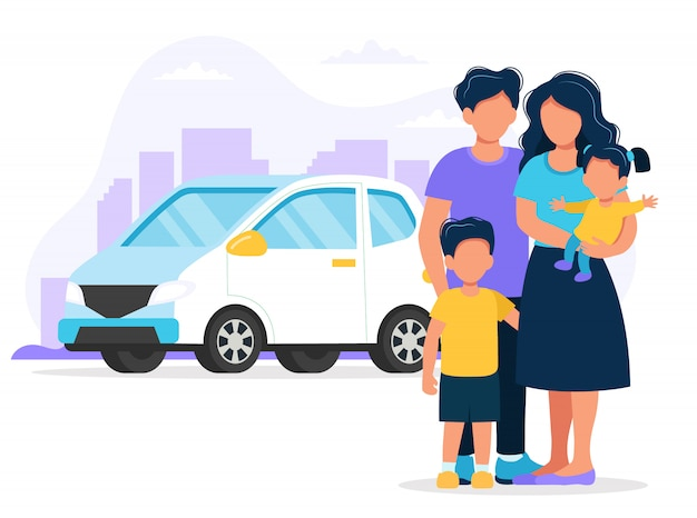 Happy family with car and city.