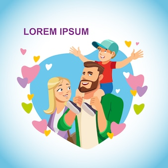 Happy family with child cartoon vector concept