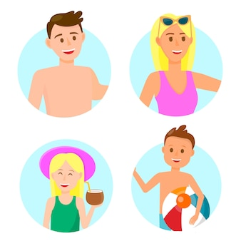 Happy family with children in beach clothing icons