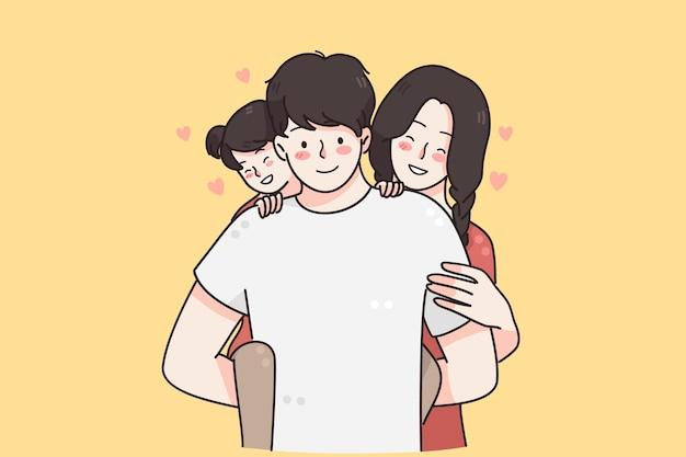 子供と幸せな家族の概念