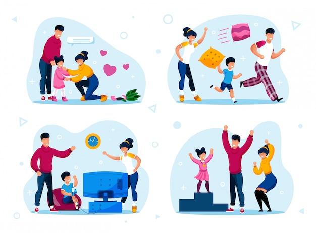 Happy family with children life scenes set