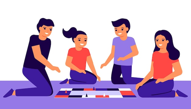 子供連れの幸せな家族は家でゲームをします。