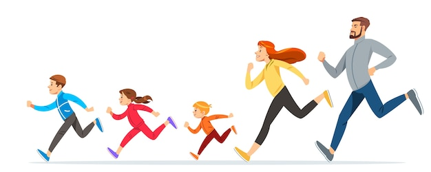Happy family with children running or jogging for sport and better fitness in summer
