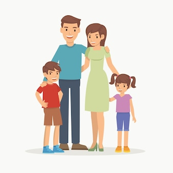 Happy family with children standing together