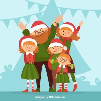 크리스마스 옷 일러스트와 함께 행복한 가족