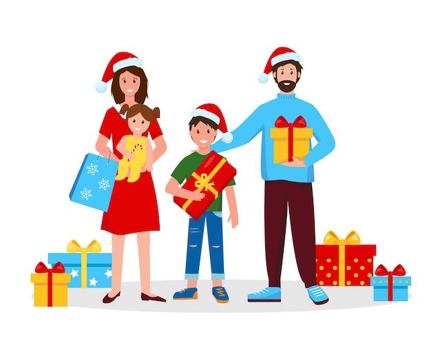 Счастливая семья с рождественскими подарками. мать, отец и дети с подарками на новый год или рождество.