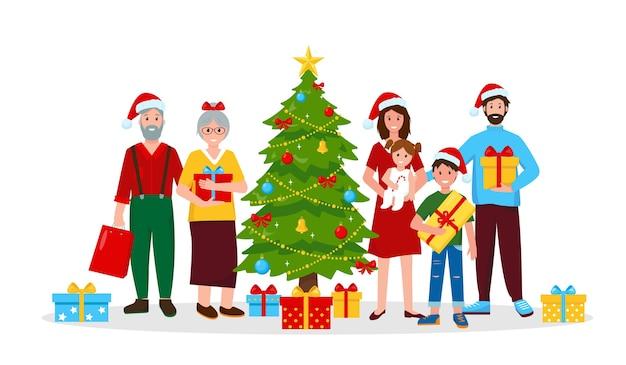 Счастливая семья с рождественскими подарками возле елки.
