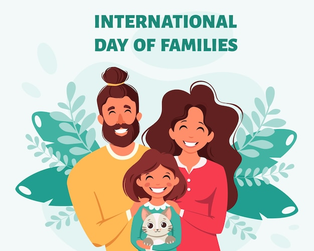 Happy family with daughter and cat