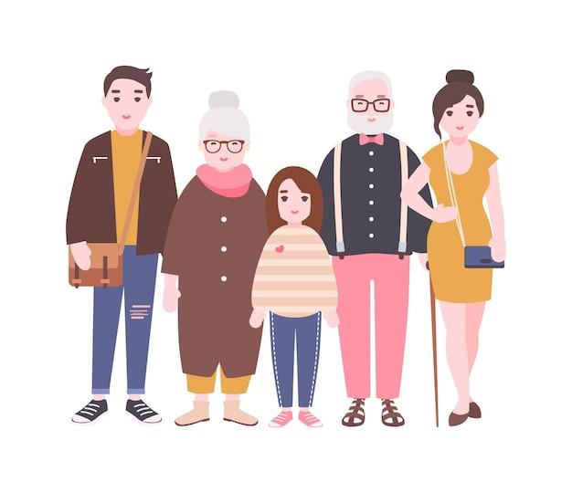 할아버지, 할머니, 아버지, 어머니와 자식 소녀가 함께 서있는 행복한 가족