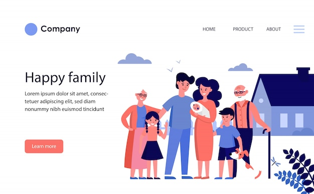 Happy family with grandparents and kids standing at house. website template or landing page