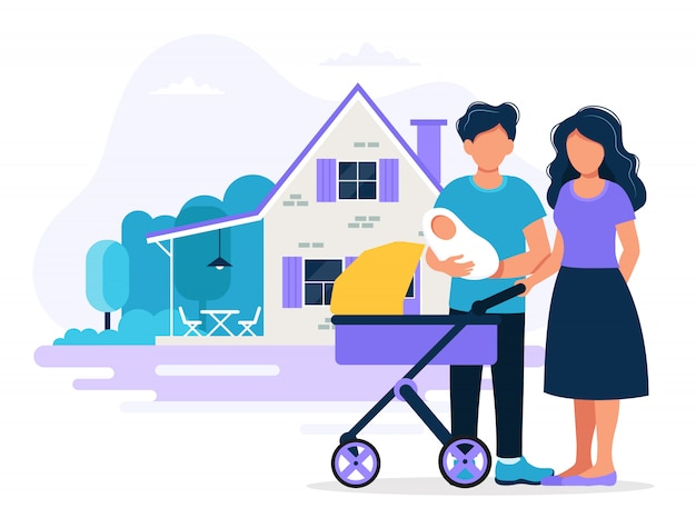 Happy family with house. concept illustration for mortgage, buying