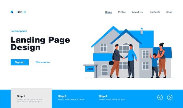 Счастливая семья с ребенком покупает новую целевую страницу дома в плоском стиле