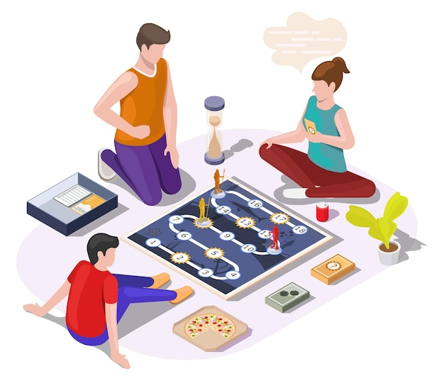 Happy family with kid playing board game sitting on the floor, vector isometric illustration. home leisure activities.