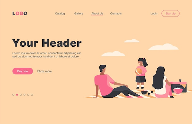 Happy family with kid relaxing on nature. picnic, girl, bbq flat  landing page. summer activity and weekend concept for banner, website design or landing web page
