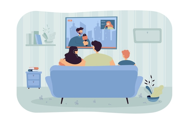 Happy family with kid sitting on sofa and watching news isolated flat illustration