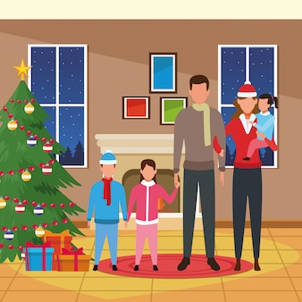 Happy family with kids next to christmas tree