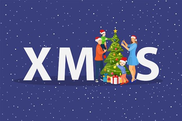 クリスマスツリーを飾る子供たちと幸せな家族