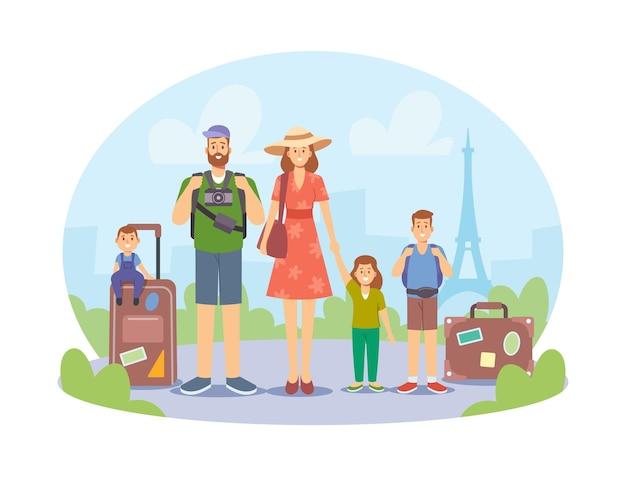 旅行中の子供たちと幸せな家族、母、父、子供たちのキャラクターと荷物と写真カメラがフランスを訪問