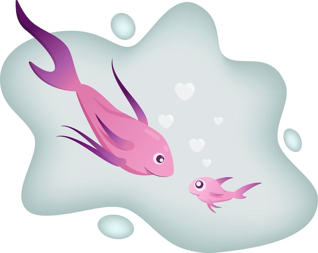 母魚と子魚の幸せな家族。ベクトルイラスト。
