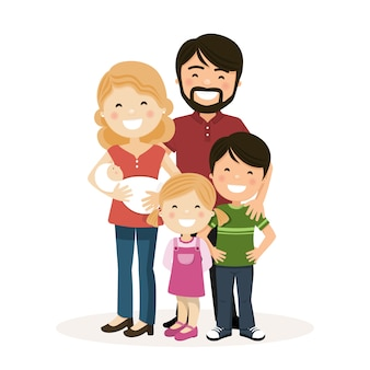 Happy family with parents, children and babyborn