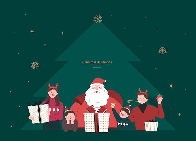 크리스마스에 산타와 함께 행복 한 가족