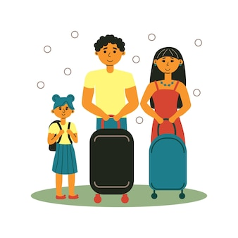 Happy family with schoolkid on vacation on white background