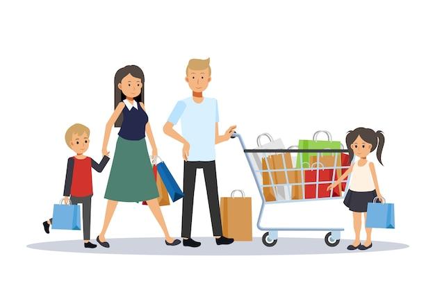 ショッピングで幸せな家族。父、母、息子、娘。大きな割引。イラストフラットデザイン