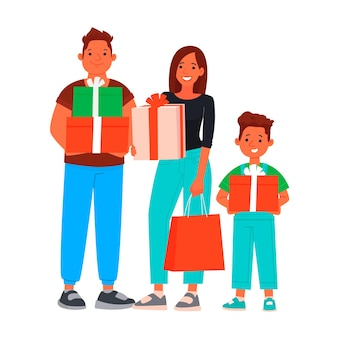Happy family with shopping. seasonal discounts and sales.