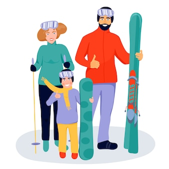 Happy family with skis and snowboarder.
