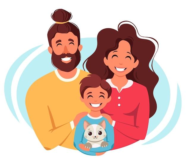 Счастливая семья с сыном и кошкой, родители обнимают ребенка