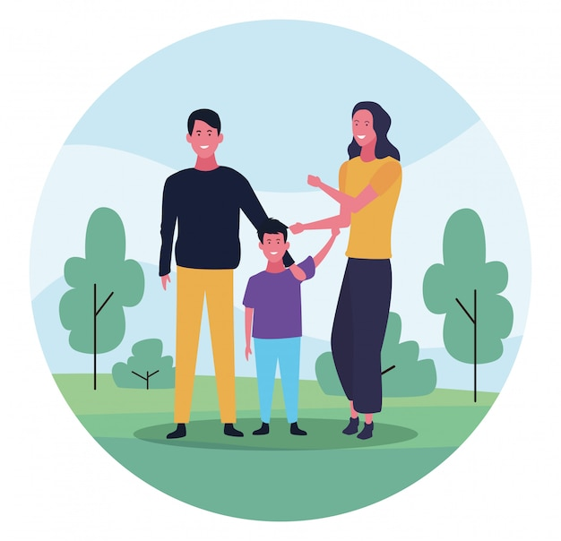 Happy family with son, colorful design