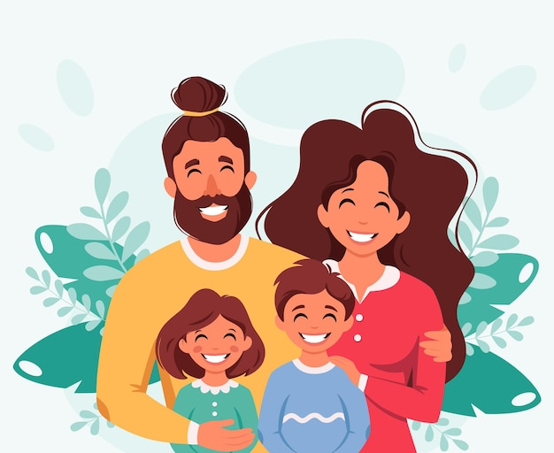 Happy family with son and daughter