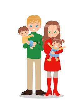 冬の服を着た2人の子供を持つ幸せな家族。