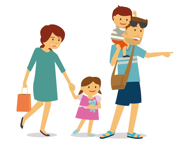 Happy family with two kids traveling