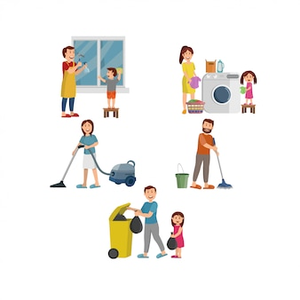 Happy family working together cleaning home illustration