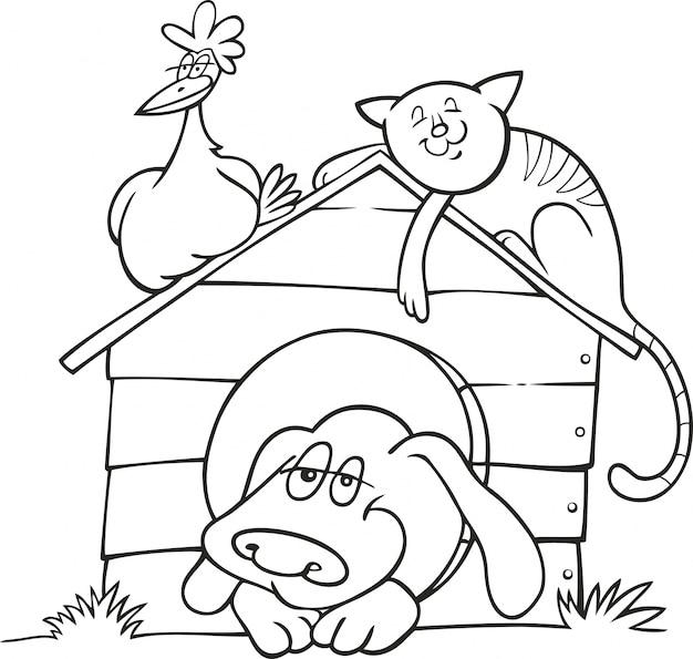 Счастливые животные фермы для раскраски