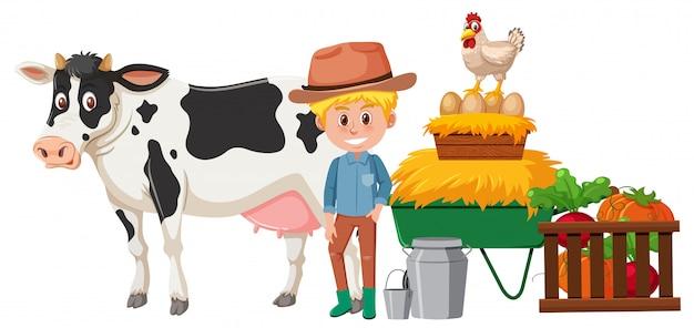 A happy farmer and animal