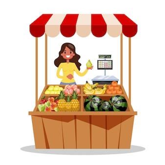 幸せな農家が農場からの新鮮な有機収穫物を販売