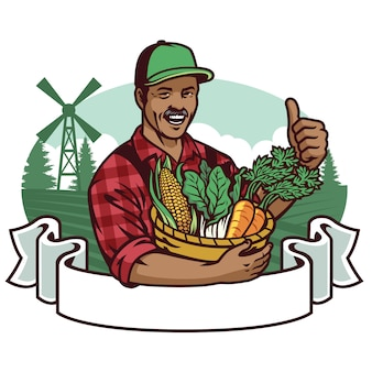 Happy farmer show his vegetables