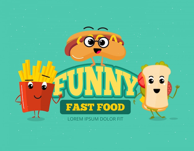 Happy fast food comic characters vector background