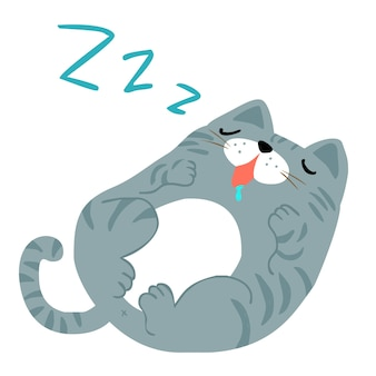 Happy fat gray cat sleeping vector illustration