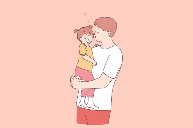 幸せな父と娘のコンセプト。手に小さな娘を保持し、愛と優しいキスで若いポジティブな父の漫画のキャラクター