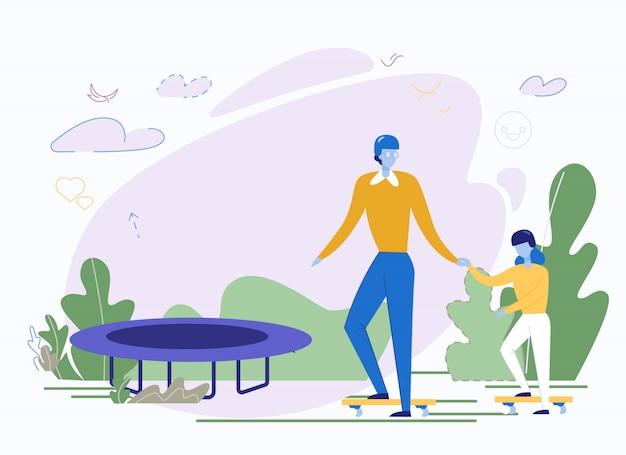 Счастливый отец и дочь занимаются спортом в парке