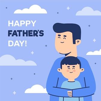 幸せな父と素敵な息子が一緒にいる