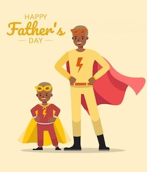 아버지의 날 개념에 대 한 행복 한 아버지와 아들 문자 벡터 디자인.
